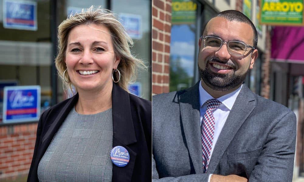 District 5 Boston City Council candidates Maria Esdale Farrell and Ricardo Arroyo (Robin Lubbock, Simón Rios/WBUR)