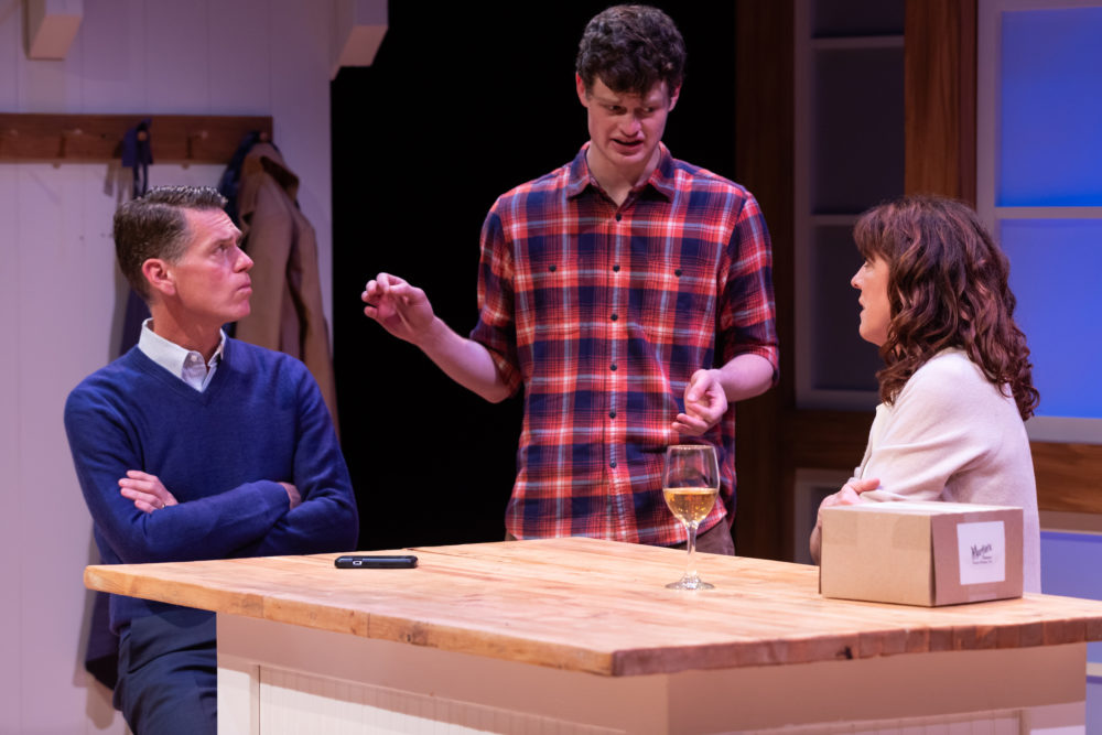 "Michael Kaye, Nathan Malin and Maureen Keiller in SpeakEasy Stage's Production of ""Admissions."" (Courtesy Maggie Hall Photography)"