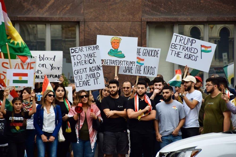 Kurds in Nashville express their sense of betrayal at a peace rally earlier this month. (Rachel Iacovone/WPLN)