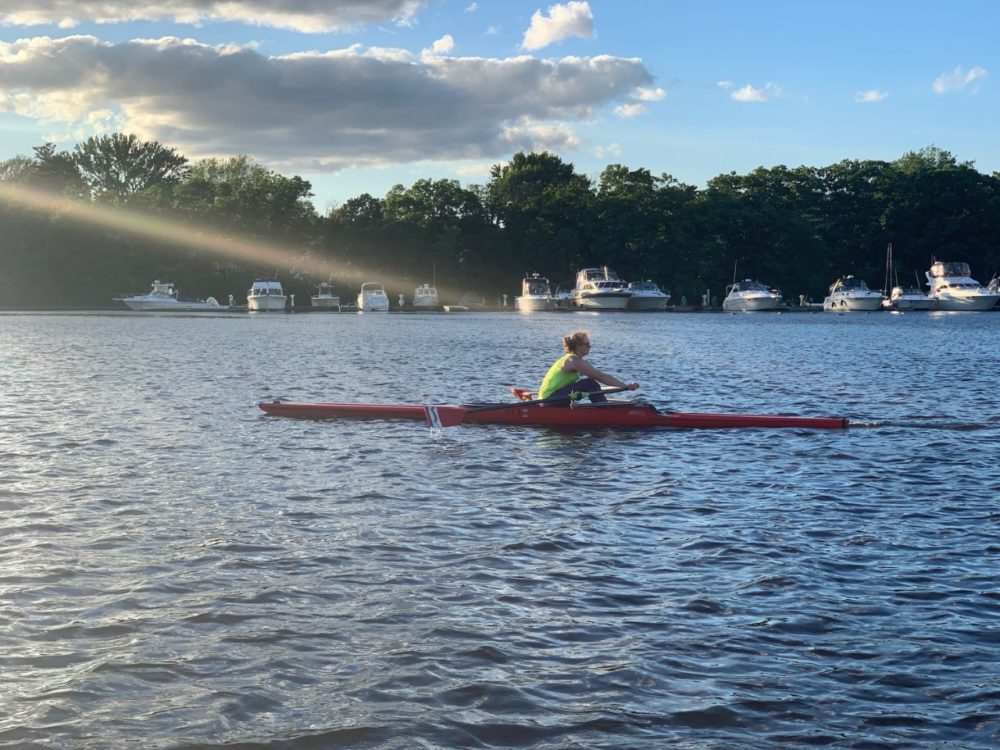 Lisa Russell rowing in a single scull. (Courtesy Lisa Russell)