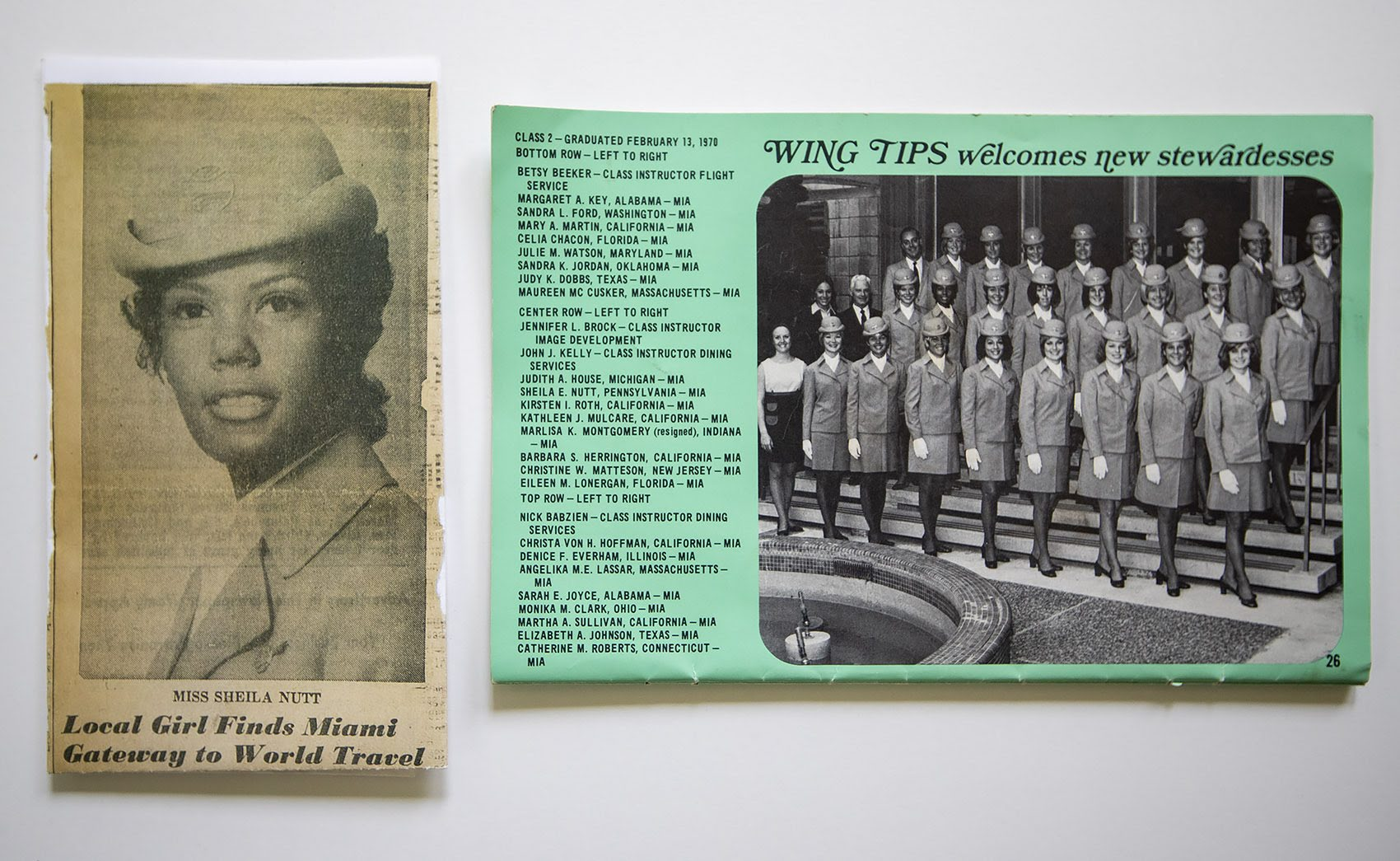 A newspaper clipping from a Philadelphia paper announces Sheila Nutt's hiring by Pan Am, left, and a photograph in the Pan Am publication Wing Tips shows the new class of stewardesses. (Jesse Costa/WBUR)