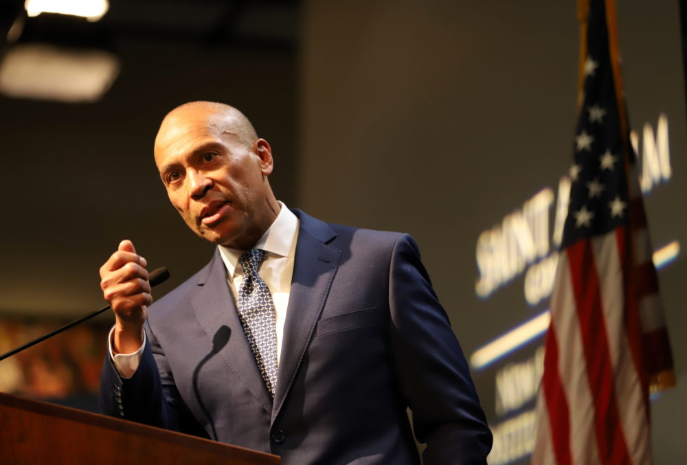 "Former Massachusetts Gov. Deval Patrick speaks at a ""Politics and Eggs"" forum in New Hampshire on Monday. (Sam Doran/SHNS)"