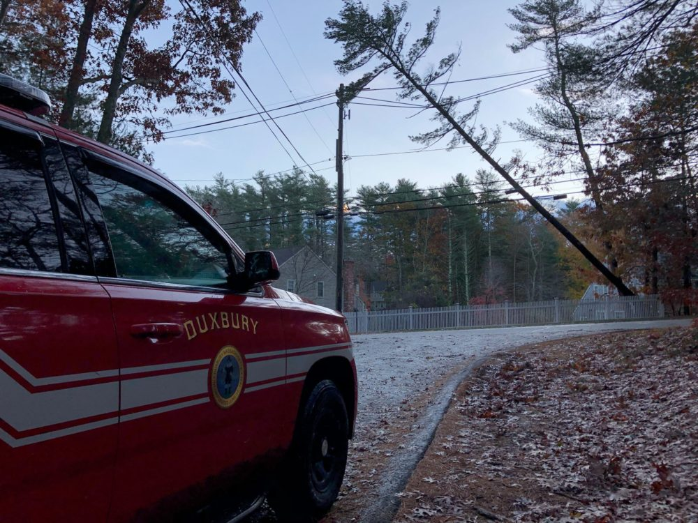 The Duxbury Fire Department was one of several emergency response teams working to clear roads and restore power after storms hit Massachusetts overnight. (Courtesy of Duxbury Fire Department)