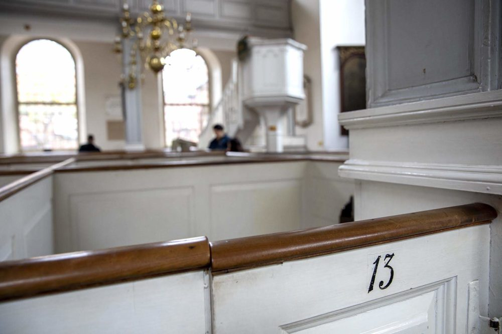 Pew 13 in the Old North Church. Recent research shows that Captain Newark Jackson, who owned the pew, participated in trafficking enslaved people in 1743. (Robin Lubbock/WBUR)