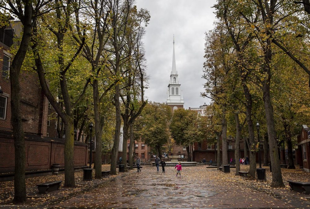 The Old North Church, seen from Paul Revere Mall in Boston's North End. (Robin Lubbock/WBUR)