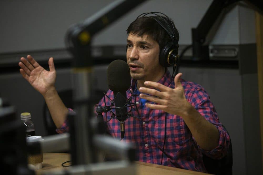 Justin Long in the WBUR studio. (Jesse Costa/WBUR)