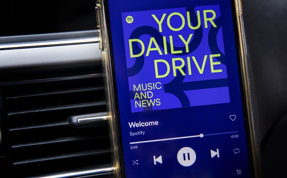 """Does Spotify's """"Your Daily Drive"""" live up to the streaming giant's promise of a """"seamless and unified"""" listening experience? (Robin Lubbock/WBUR)"""
