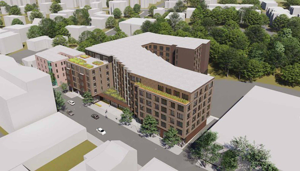 A rendering of the permanent housing project on Washington Street in Jamaica Plain. (Courtesy Boston Planning & Development Agency)
