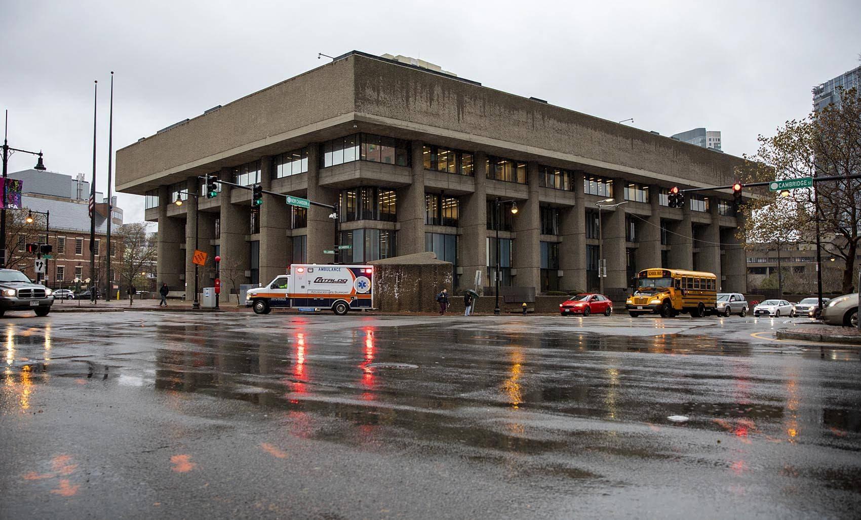 The Charles F. Hurley Building on the corner of Cambridge Street and New Chardon Street in Boston. (Robin Lubbock/WBUR)