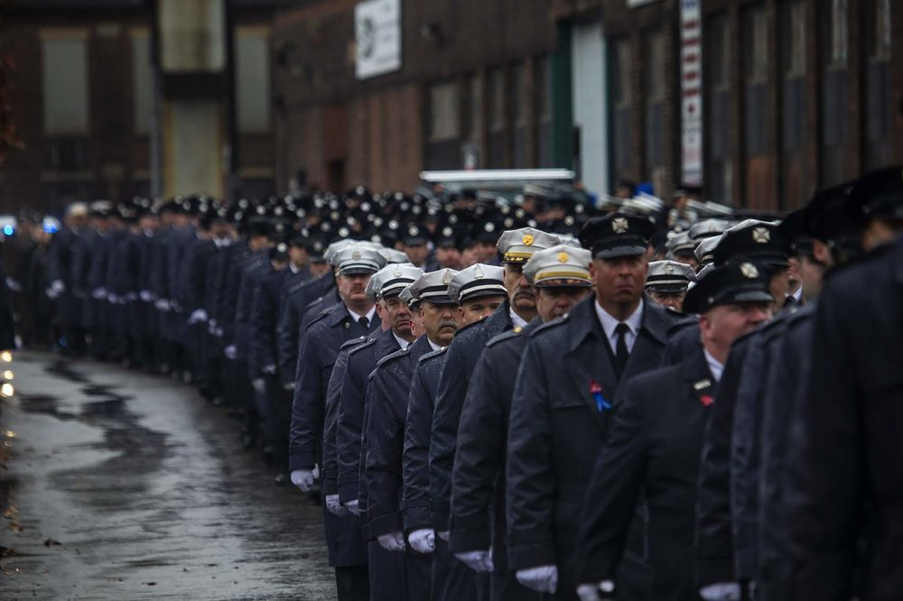 Hundreds of firefighters in the procession for fallen Worcester firefighter Lt. Jason Menard. (Jesse Costa/WBUR)