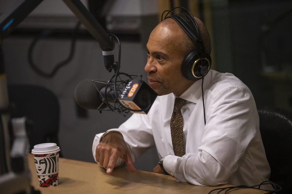 Deval Patrick, candidate for the 2020 presidential nomination and former governor of Massachusetts, in the WBUR studio. (Jesse Costa/WBUR)