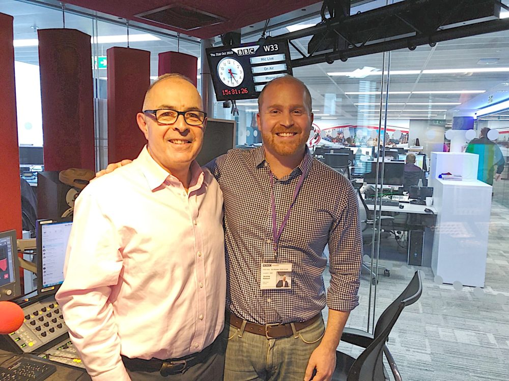BBC's Rob Watson (left) has been a frequently spoken to host Jeremy Hobson (right) since the United Kingdom voted to leave the European Union in 2016.