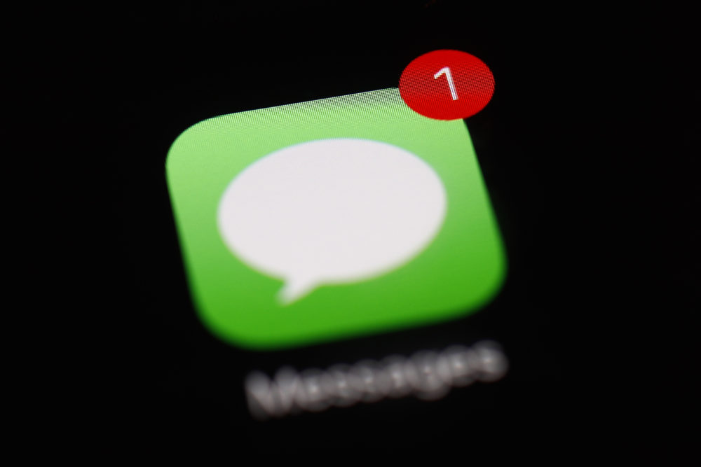 A notification badge on the Messages app on an iPad is shown. (Patrick Semansky/AP)