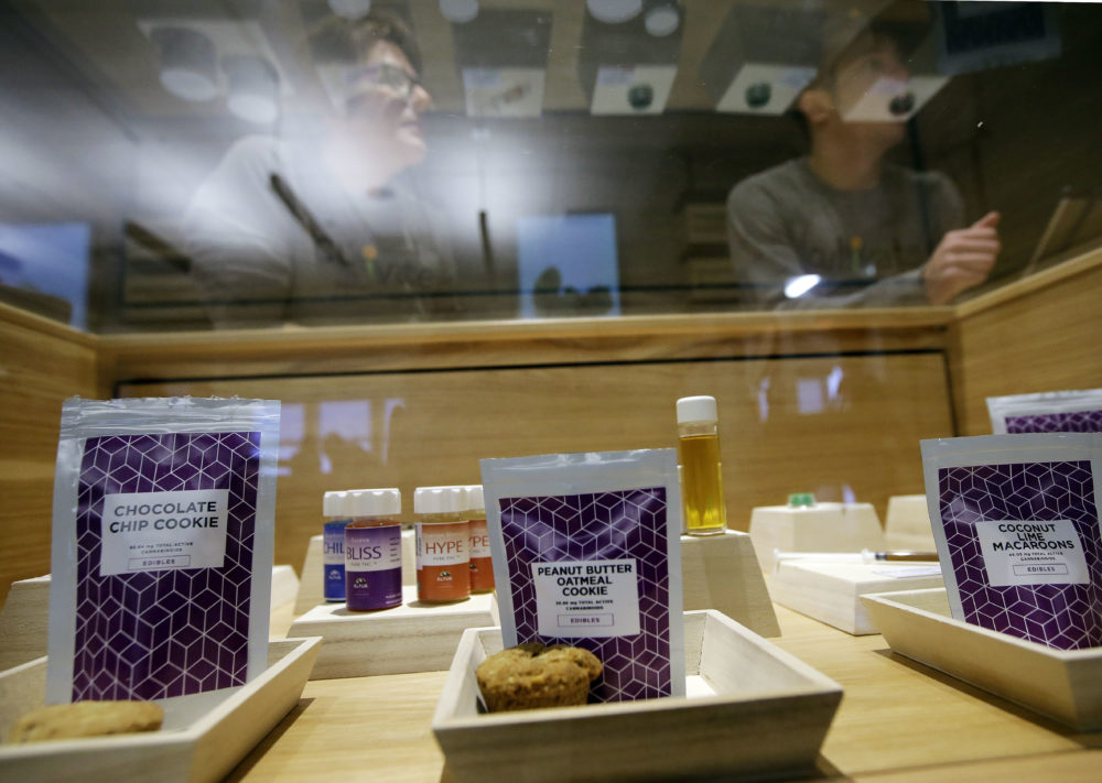 Cannabis products are displayed at the Cultivate dispensary on the first day of legal recreational marijuana sales in Leicester, Mass. (Steven Senne/AP)
