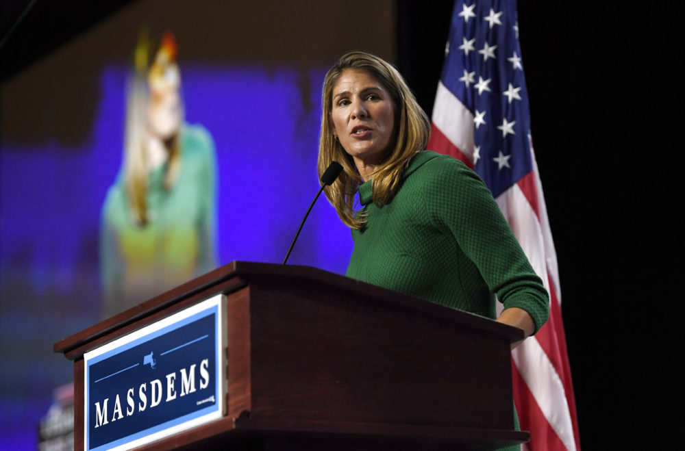 U.S. Rep. Lori Trahan, speaks to delegates during the 2019 Massachusetts Democratic Party Convention, Sept. 14, 2019, in Springfield, Mass. (Jessica Hill/AP)
