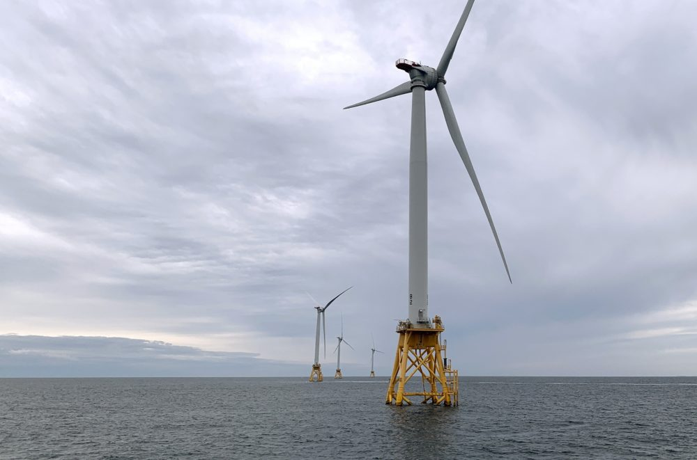 Deepwater Wind's turbines stand in the water off Block Island, R.I. on Aug. 23, 2019. (Rodrique Ngowi/AP)