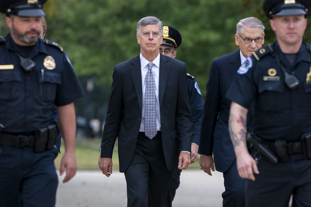 Ambassador William Taylor, is escorted by U.S. Capitol Police as he arrives to testify before House committees as part of the Democrats' impeachment investigation of President Donald Trump, at the Capitol in Washington, Tuesday, Oct. 22, 2019. (J. Scott Applewhite/AP)