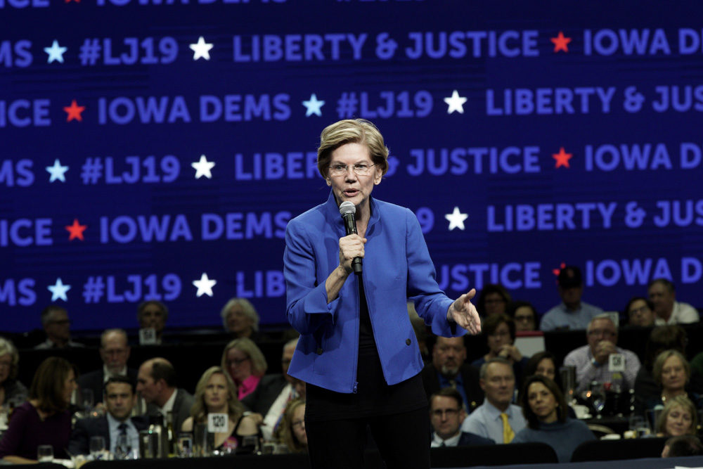 Democratic presidential candidate Sen. Elizabeth Warren speaks during the Iowa Democratic Party's Liberty and Justice Celebration, Friday, Nov. 1, 2019, in Des Moines, Iowa. (Nati Harnik/AP)