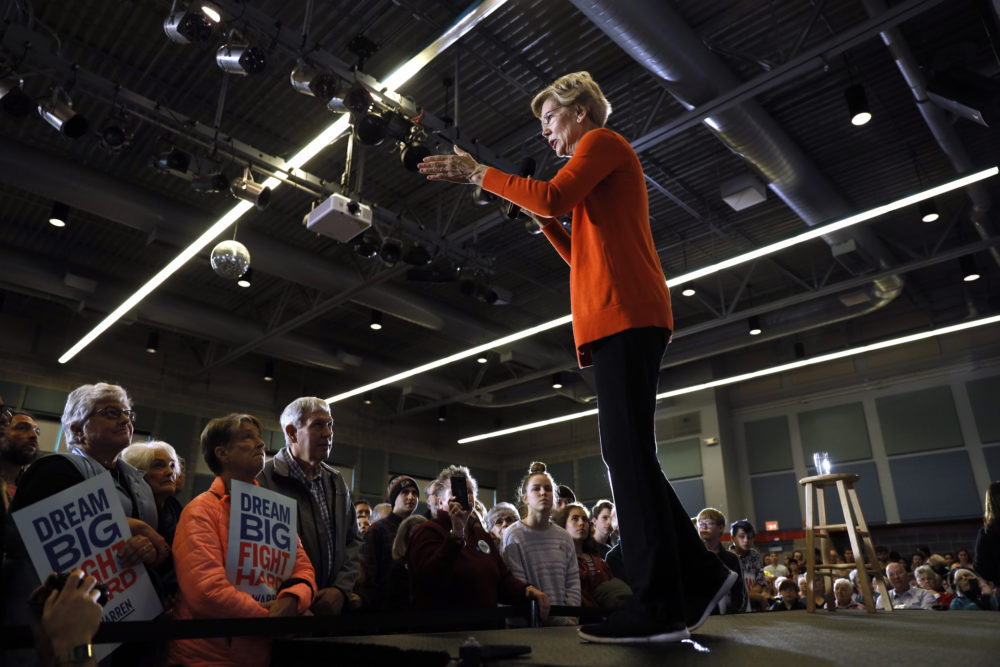 Democratic presidential candidate Sen. Elizabeth Warren, D-Mass., speaks during a town hall at Grinnell College Monday in Grinnell, Iowa. (Charlie Neibergall/AP)