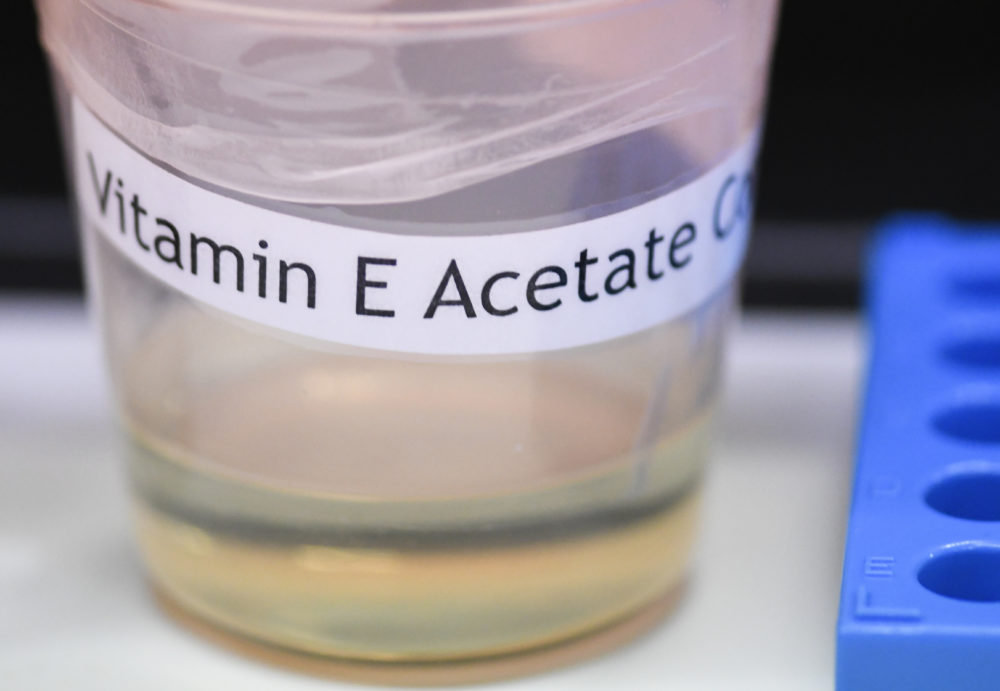A vitamin E acetate sample. The Centers for Disease Control and Prevention in Atlanta said fluid extracted from 29 lung injury patients who vaped contained the chemical compound. (Hans Pennink/AP)