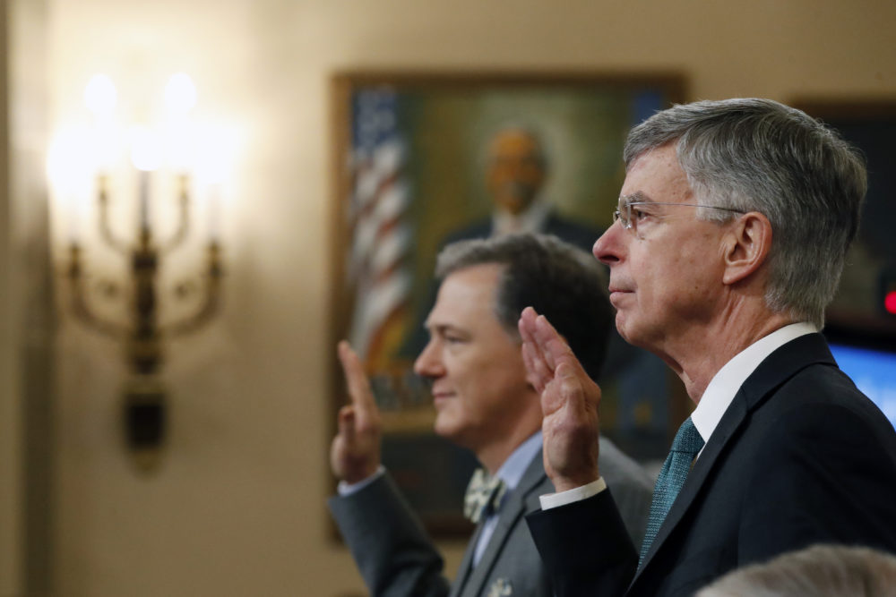 Top U.S. diplomat in Ukraine William Taylor, right, and career Foreign Service officer George Kent, left are sworn in to testify before the House Intelligence Committee on Capitol Hill in Washington, Wednesday, Nov. 13, 2019. (Alex Brandon/AP)