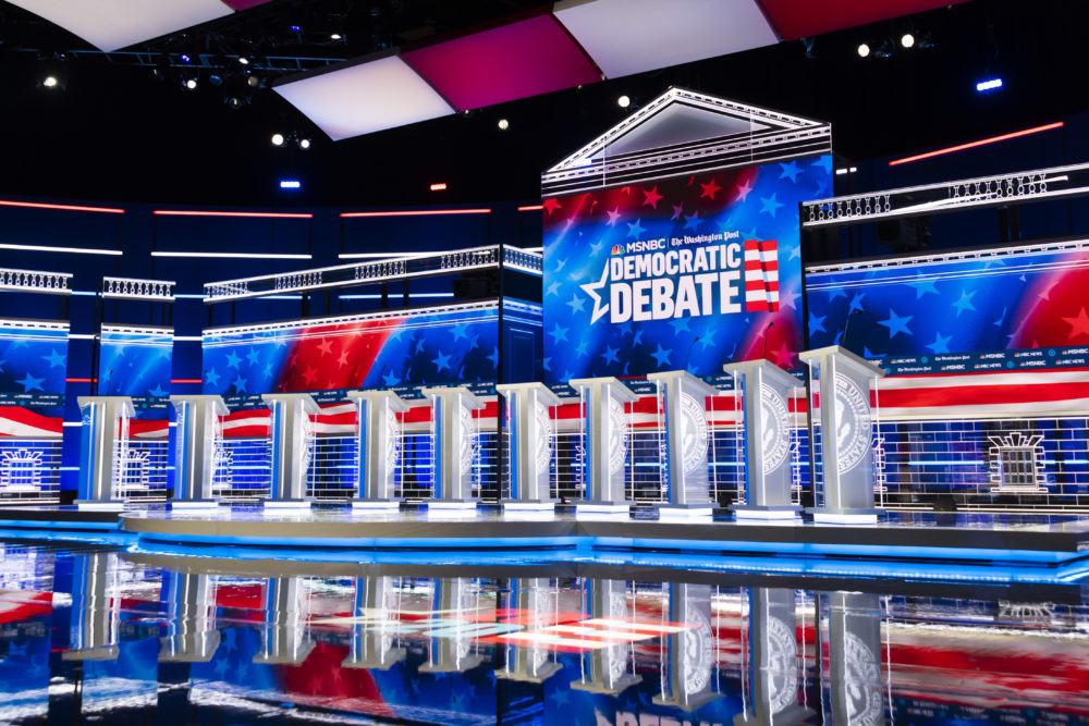 The stage for the Democratic presidential primary debate is shown before Wednesday's debate in Atlanta. (John Amis/AP)