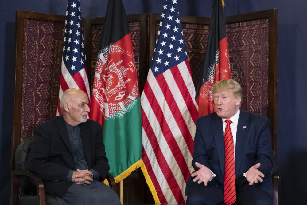 President Donald Trump speaks during a meeting with Afghan President Ashraf Ghani during a surprise Thanksgiving Day visit, Thursday, Nov. 28, 2019, at Bagram Air Field, Afghanistan. (Alex Brandon/AP)