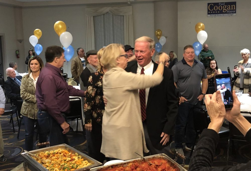 Fall River Mayor-elect Paul Coogan celebrates his victory with supporters. (Callum Borchers/WBUR)
