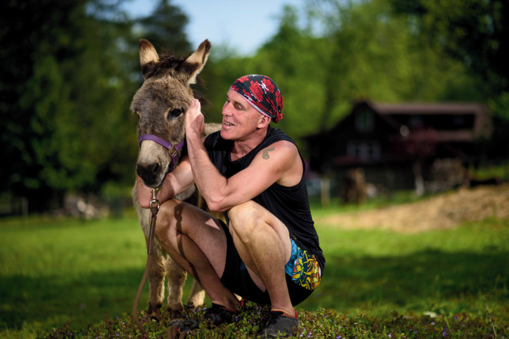 Sherman the Donkey and Chris McDougall. (Matt Roth)
