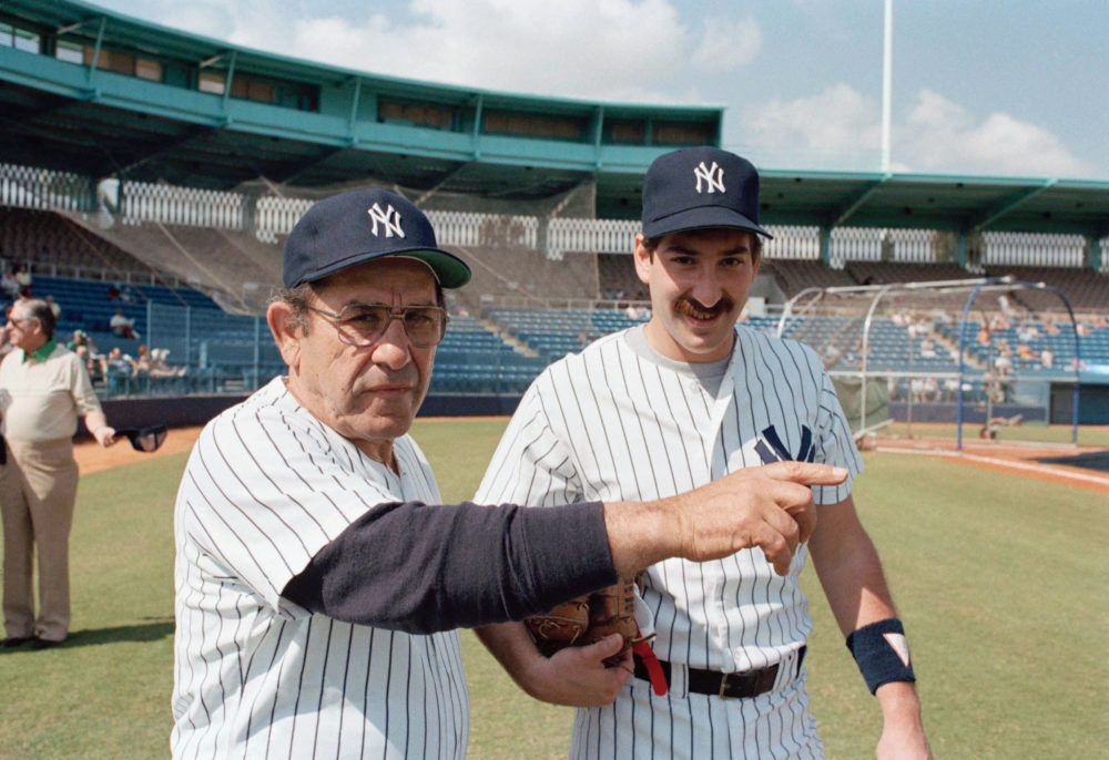 Yogi Berra with son Dale at New York Yankees 1985 spring training. (AP)