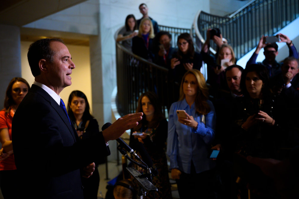 U.S. Rep. Adam Schiff, D-Calif., the Chairman of the House Permanent Select Committee on Intelligence, speaks to the press on Capitol Hill after witnesses failed to show up for closed door testimony during the impeachment inquiry into President Donald Trump in Washington on Nov. 4, 2019. (Andrew Caballero-Reynolds/AFP via Getty Images)