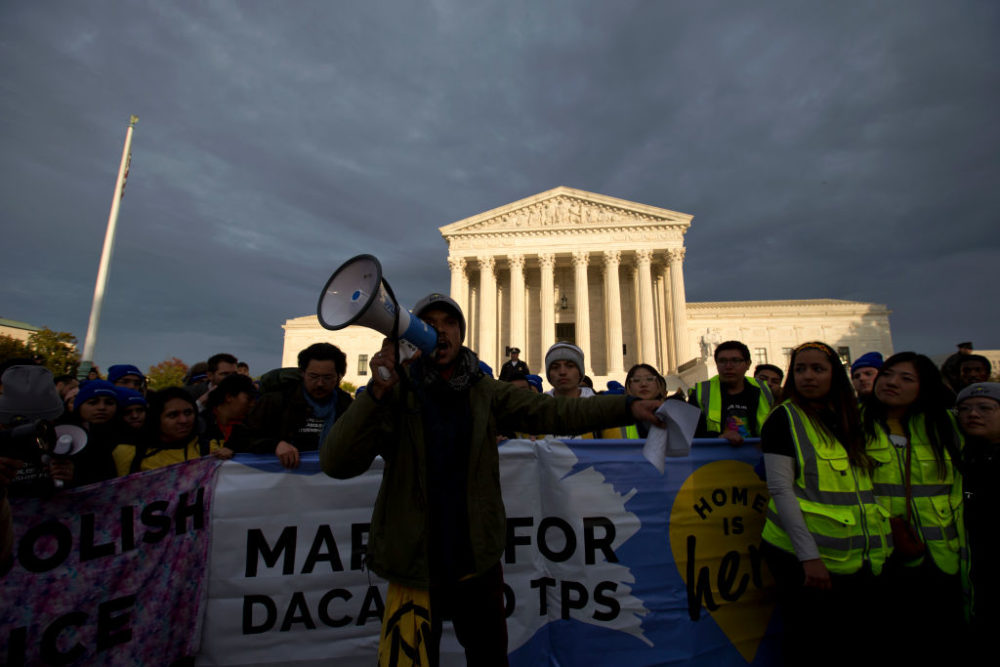 Demonstrators arrive in front of the U.S. Supreme Court during the march for DACA and TPS on November 10, 2019 in Washington D.C. (Jose Luis/AFP/Getty Images)