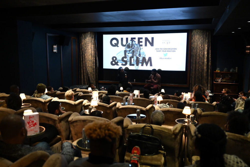 "Marlon James and Daniel Kaluuya speak during A Special Screening of ""Queen & Slim."" (Bryan Bedder/Getty Images for Universal)"