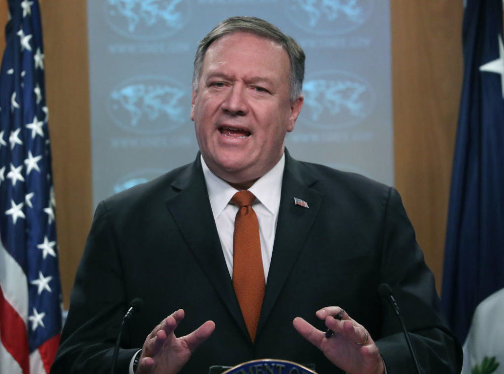 Secretary of State Mike Pompeo speaks to the media in the briefing room at the State Department. (Mark Wilson/Getty Images)