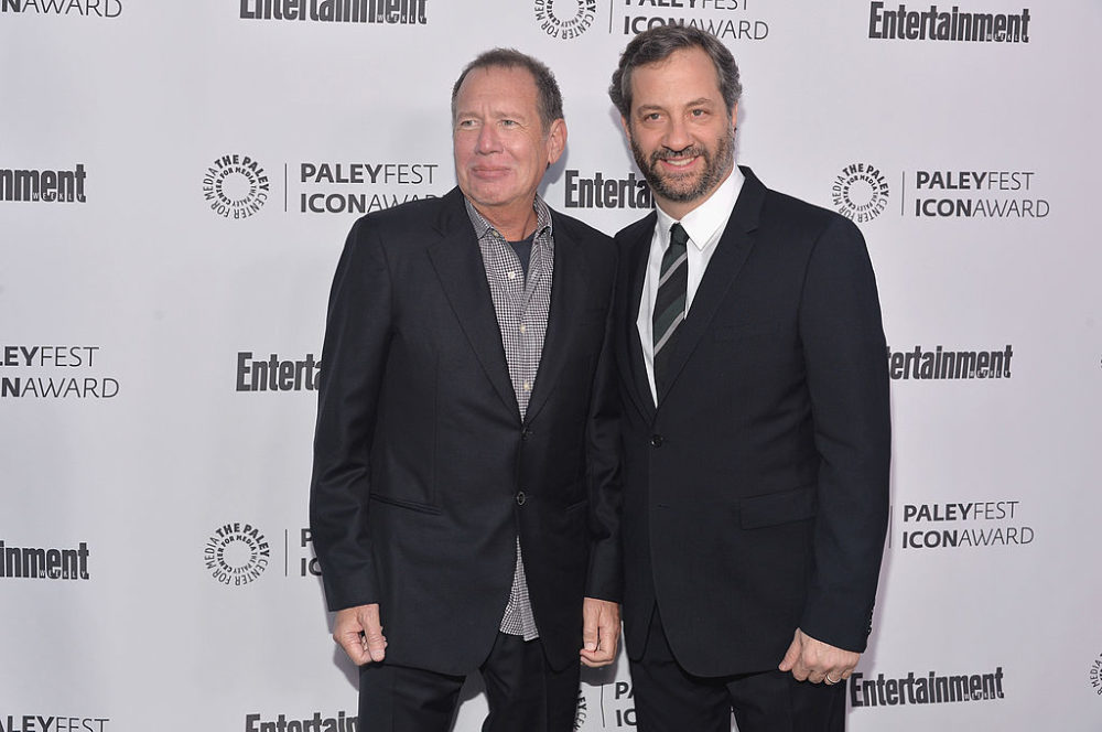 Gary Shandling and Judd Apatow attend The Paley Center For Media's 2014 PaleyFest Icon Award announcement on March 10, 2014. (Alberto E. Rodriguez/Getty Images)
