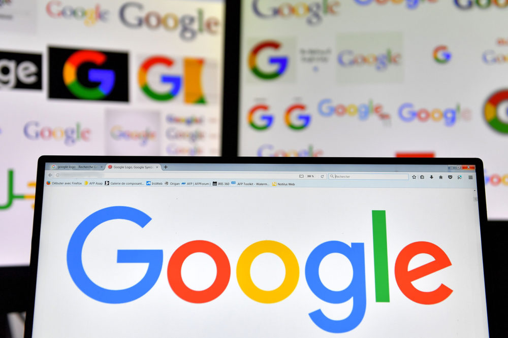 A picture taken on Nov. 20, 2017 shows logos of U.S. multinational technology company Google. (Loic Venance/AFP via Getty Images)