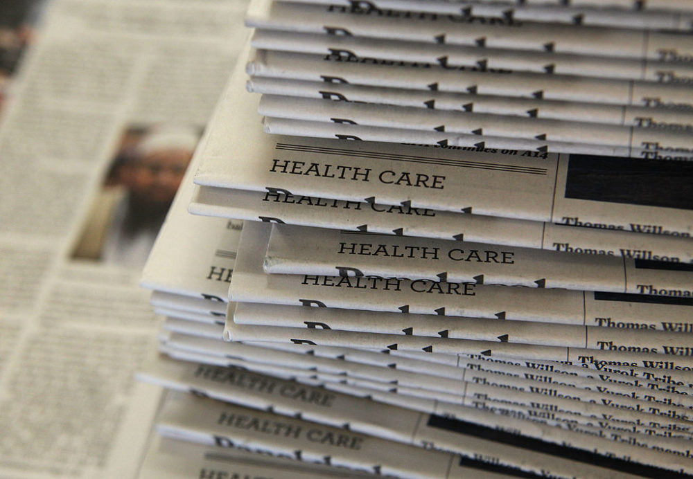 A stack of newspapers in San Francisco, California. (Justin Sullivan/Getty Images)