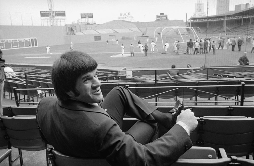 Cincinnati's Pete Rose watches from the Fenway Park  stands, Friday, Oct. 10, 1975, a day before Game 1 of the 1975 World Series. (AP)