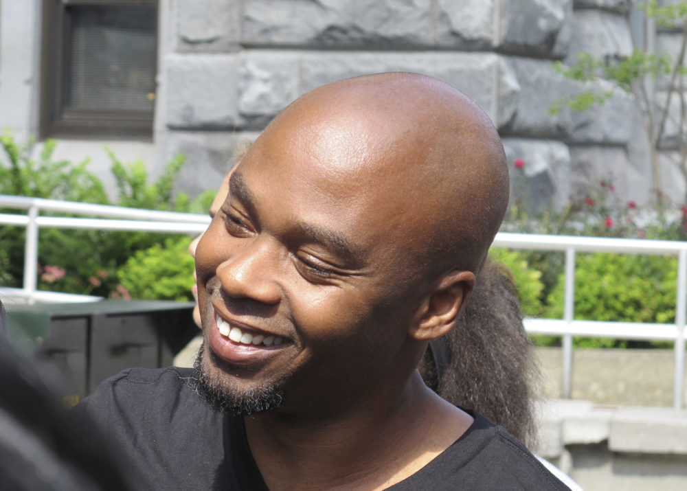 Valentino Dixon outside court in Buffalo, N.Y., Sept.2018, following his exoneration of a murder charge that kept him in prison for 27 years. (Carolyn Thompson/AP)