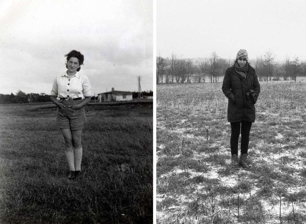 "Hana (left) on one of her foster farms in Denmark in the early 1940s. Her granddaughter, Rachael Cerrotti (right) in 2017 on the farm in Denmark that she moved to in order to follow her grandmother's story. (Courtesy of the ""We Share The Same Sky"" archive)"