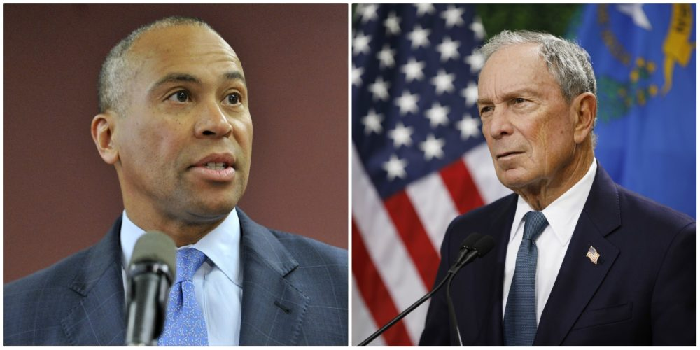 Deval Patrick, left, joined the race for the Democratic presidential nomination Thursday, and Michael Bloomberg is reportedly preparing to join as well. (Josh Reynolds and John Lorcher/AP)
