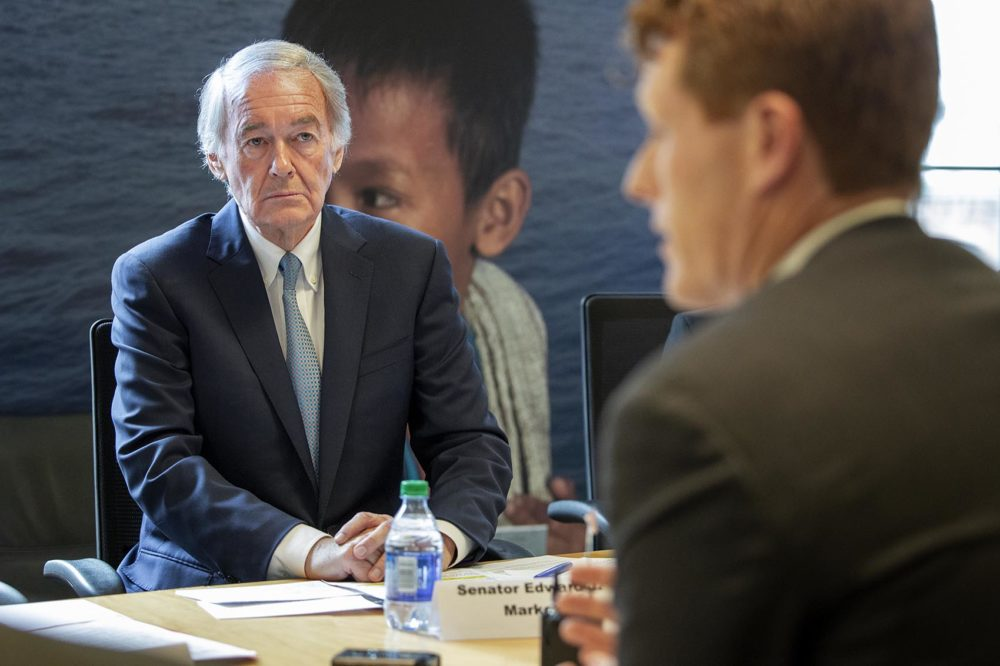 U.S. Sen. Edward Markey and U.S. Rep. Joseph Kennedy at a meeting of resettlement agencies, refugees and advocates in Boston. (Robin Lubbock/WBUR)