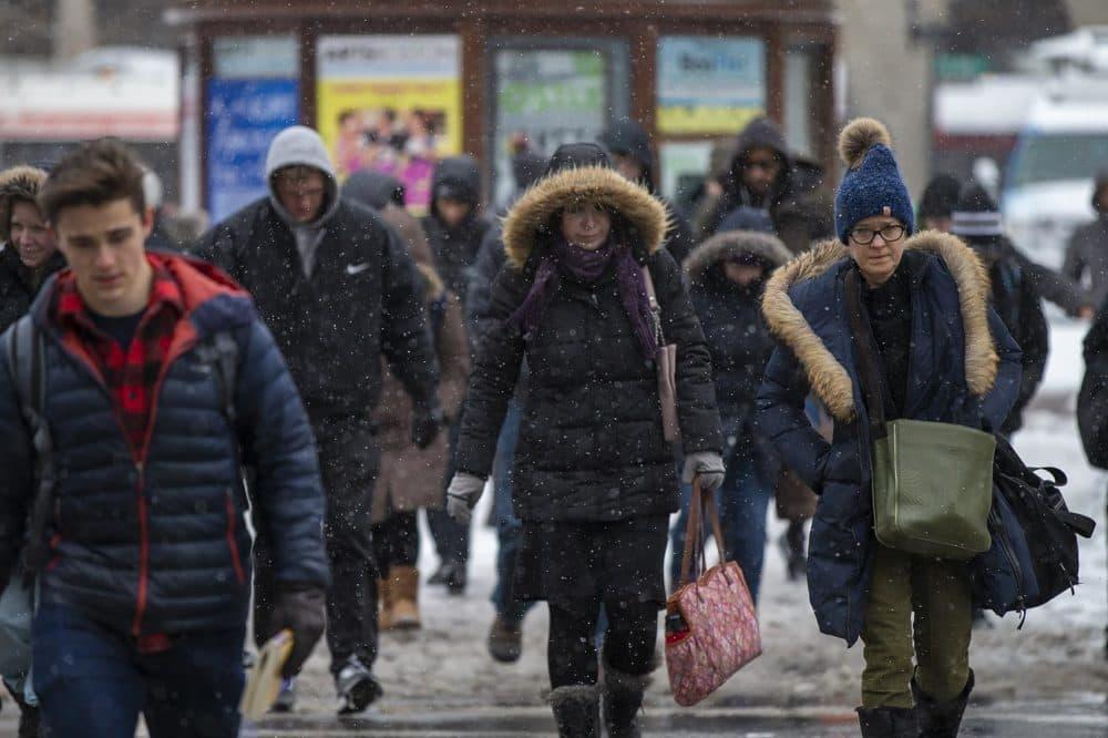 Commuters walk across Boylston St in Copley Sq. (Jesse Costa/WBUR)