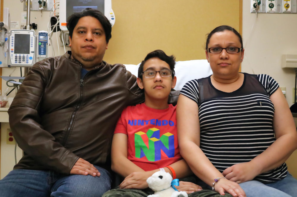 Jonathan Sanchez, center, flanked by his parents at a hospital in Boston. (Courtesy Gary Sanchez)