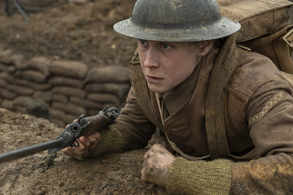 "George MacKay as Schofield in ""1917,"" the new epic from Oscar-winning filmmaker Sam Mendes. (Courtesy)"