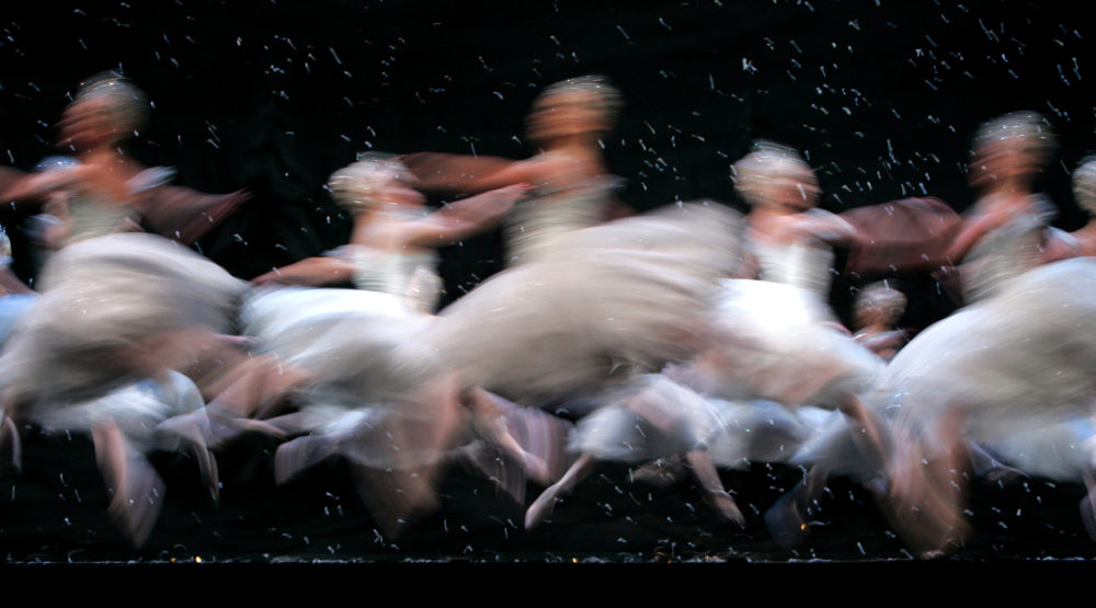 Members of the Corps de Ballet of the Royal Ballet dance as snowflakes in the Land of the Snow scene, during a final dress rehearsal of the Nutcracker Ballet at the Royal Opera House in London, Monday Dec. 5, 2005. (Alastair Grant/AP)