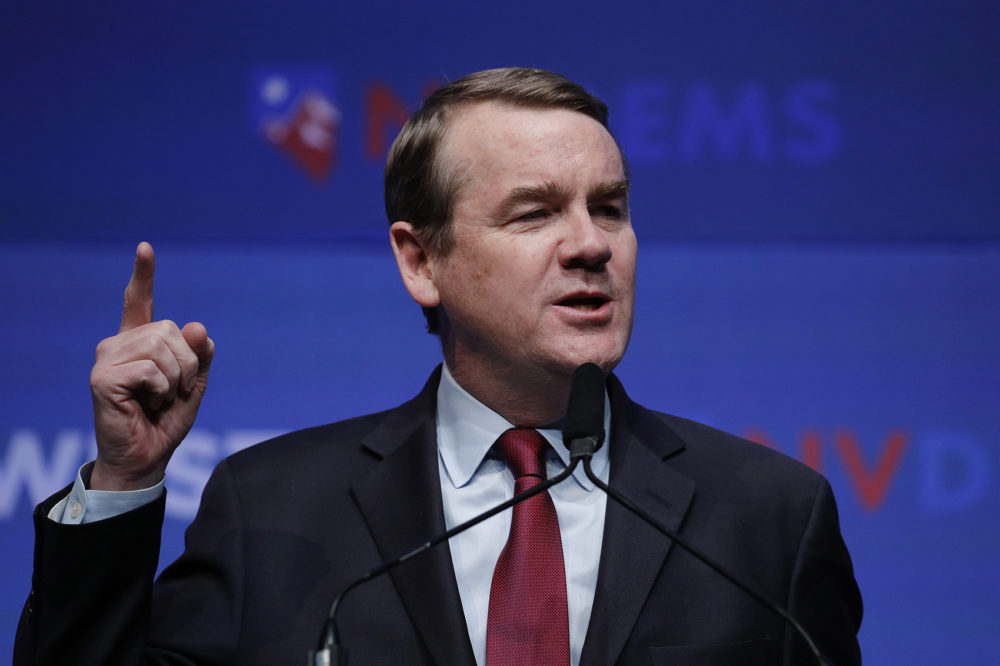 Democratic presidential candidate Sen. Michael Bennet, D-Colo., speaks during a fundraiser for the Nevada Democratic Party, Sunday, Nov. 17, 2019, in Las Vegas. (John Locher/AP)