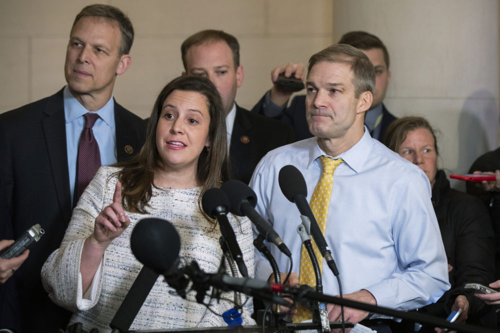Rep. Elise Stefanik, R-N.Y., front left, Rep. Jim Jordan, R-Ohio, right, and other Republican members of the House Intelligence Committee, speak to members of the media as they conclude the testimony of U.S. Ambassador to the European Union Gordon Sondland, during a public impeachment hearing of President Donald Trump's efforts to tie U.S. aid for Ukraine to investigations of his political opponents on Capitol Hill in Washington, Wednesday, Nov. 20, 2019. (Manuel Balce Ceneta/AP)