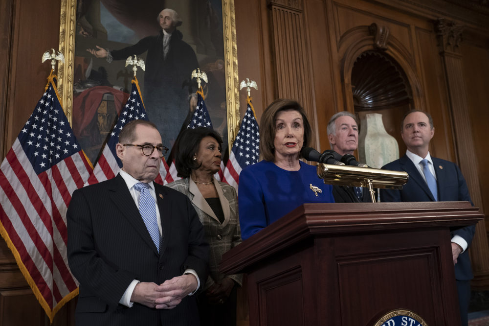 Speaker of the House Nancy Pelosi, D-Calif., joined from left by House Judiciary Committee Chairman Jerrold Nadler, D-N.Y., House Financial Services Committee Chairwoman Maxine Waters, D-Calif., House Ways and Means Committee Chairman Richard Neal, D-Mass., and House Intelligence Committee Chairman Adam Schiff, D-Calif., unveils articles of impeachment against President Donald Trump, abuse of power and obstruction of Congress. (J. Scott Applewhite/AP)