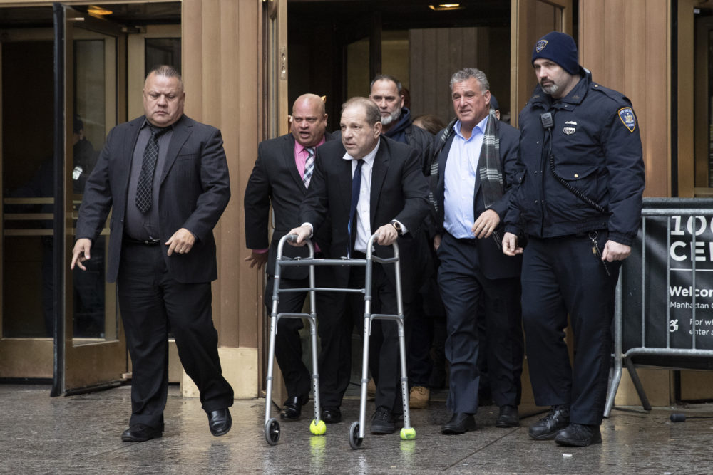 In this Wednesday, Dec. 11, 2019 photo, Harvey Weinstein, with the aid of a walker, leaves court following a hearing in New York.  (Mark Lennihan/AP)